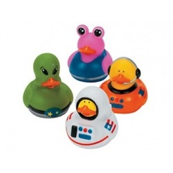 Rubber duck mini astronaut/alien (per 4)