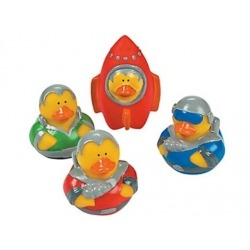 Rubber duck mini astronaut/rocket (per 4)