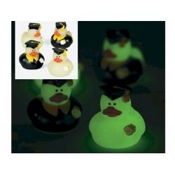Badeend mini geslaagd glow in the dark (per 2) 4 cm