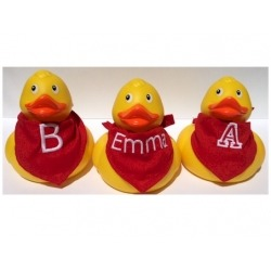Rubber duck 9 cm with scarf (with your text)  Babyshower gift