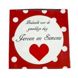 Sticker Bedankt voor de gezellige dag red heart (24 pieces)  Stickers