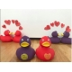 Rubberduck purple Love & Peace 8 cm B  Ducks with text