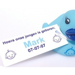 Label rectangle baby face blue  (25 pieces)