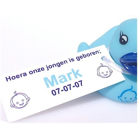 Label rectangle baby face blue (25 pieces)  Labels