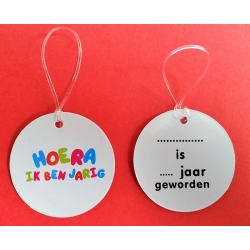 HOERA IK BEN JARIG label  Ducks with text