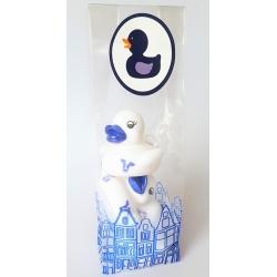 Mini Delftblauwe badeendjes in bijpassend kadozakje  Verpakking