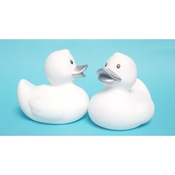 Rubberduck white silver beak 8 cm B  White