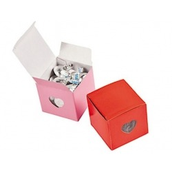 Box wedding hearts pink red (per 12)  Packing