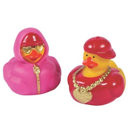 Rubber duck mini Valentine Hip Hop (per 2)  Mini ducks