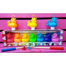 Set of 7 unicorn funfair rubber ducks with 2 fishing rods  Funfairducks