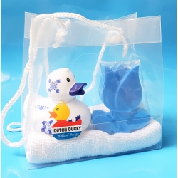 Badeend DUTCH DUCKY zeep kado Tulp blauw  Dutch Ducky