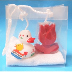 Rubber duck DUTCH DUCKY soap gift Tulip red  Dutch Ducky
