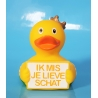 Duck  crown  with greeting sign with name or text
