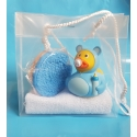Rubber duck baby blue & soap gift