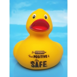 Corona ente Be STRONG think POSITIVE & stay SAFE gelb  Enten mit tekst