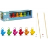 Set of 6 funfair ducks with 2 fishing rods