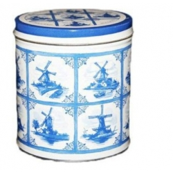 Delft Blue can with Stroopwafels  Dutch Ducky