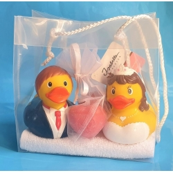 Rubber duck wedding couple DR soap gift red heart soaps  Giftset