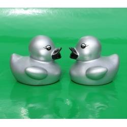 Rubber duck mini silver B 5 cm  Silver