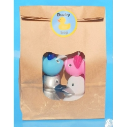 DUCKYbag 8 cm silver, white, pink & blue 4 pieces  DUCKYbags