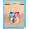 DUCKYbag  8 cm silver, white, pink & blue 4 pieces